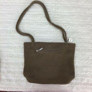 The SAK woven shoulder bag purse brown khaki